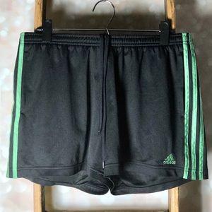 Adidas Black & Green Athletic Shorts with Pockets
